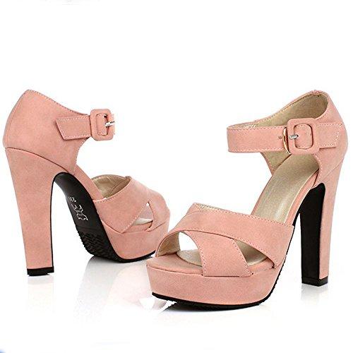 LongFengMa Women's Fashion Platform High Heeled Sandals Block Heels Pink R0NgL0tbg