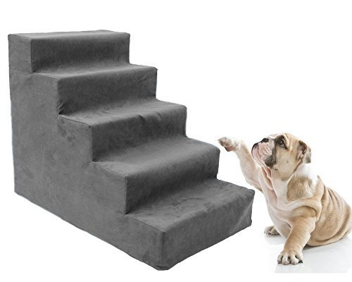 Toparchery Easy 5 Steps Dog Stairs to get on High Bed, Pet Animal Ramp Ladder with Fleece Cover for Cats Dogs