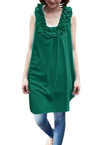 sourcingmap® Lady U-ausschnitt Zappelnd Halsausschnitt Halb Schier Tunika Shirt Grün S - Grün, Damen, S