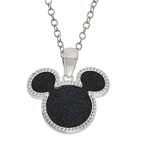 Disney Mickey Mouse Silver Plated Black Glitter Pendant Necklace, Mickey's 90th Birthday Anniversary