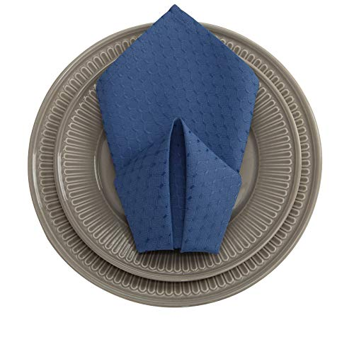 VEEYOO Cloth Napkins Set of 6 Pieces Waffle Jacquard Polyester Napkins for Wedding Party Restaurant Kitchen Table Dinner Napkins (Navy Blue, 20x20) ()