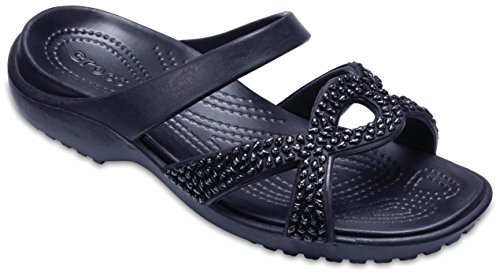Black New Slide Meleen Free Comfy Diamante Sandal Twist Black Summer Womens Crocs Zxqz77