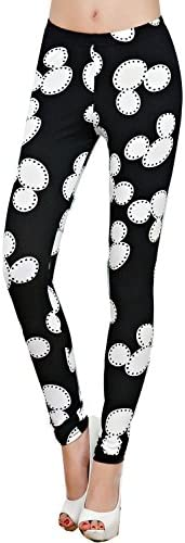 Women's Lovely Printed Stretch Seemless Micky Mouse Legging Pants Tights