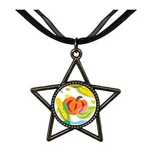 Chicforest Bronze Retro Style Nice Corn And Pumpkin Five Pointed Star Pendant