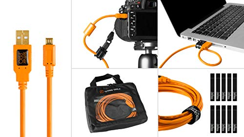 High Visibility Case - Starter Tethering Kit w/TetherPro USB 2.0 to Micro-B 5-Pin Cable, 15' (4.6m), High-Visibility Orange