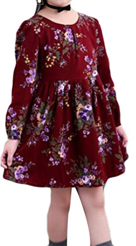 Cruiize Girls Casual Long Sleeve Loose Fit Soft Floral Round Neck Tops Dress Wine Red 4 by Cruiize