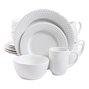 Gibson Home 16 Piece Knollview Dinnerware Embossed, White