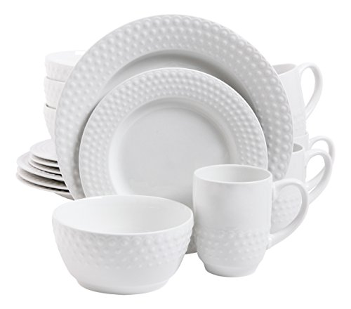 Gibson Home 16 Piece Knollview Dinnerware Embossed, White (White Dish Set compare prices)