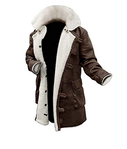 Blingsoul Men's Shearling Coat Brown Leather Swedish Bomber Jacket | [1600224] Bain PU Brown, L