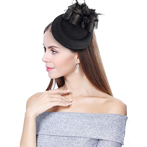 homy Fascinator Hats Feather Fascinators for Women Pillbox Hat Headband for Wedding Derby Tea Party Race]()