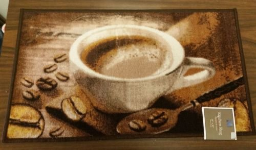 The Pecan Man Hot Coffee Cup KITCHEN RUG - Asian Theme Paper Placemats