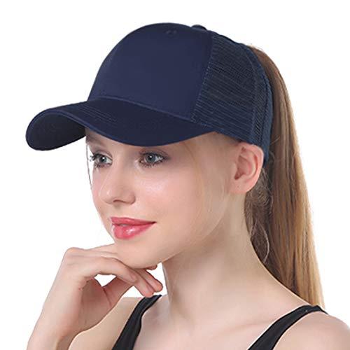 Muryobao Women's Ponycap Messy High Bun Ponytail Adjustable Baseball Cap Plain Trucker Dad Hat Mesh Navy Blue