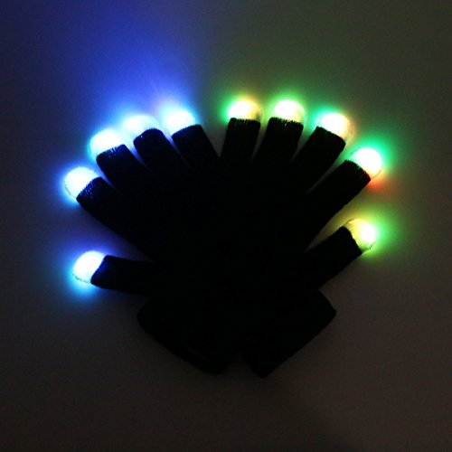 XEF Fingertip LED Colorful Rave Gloves,Flashing Finger Lighting Gloves Perfect for Raves,Parties,Christmas,Halloween