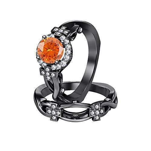 RUDRAFASHION Womens Round Orange Sapphire & White CZ Diamond 14K Black Gold Plated Cross Engagement Wedding Band Bridal Ring Set 925 Streling Silver