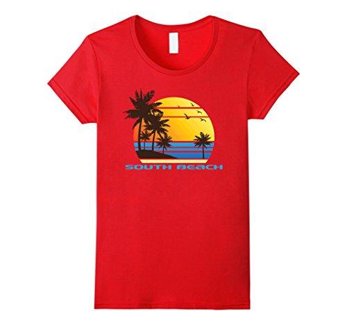 Womens South Beach Surf T-Shirt Summer Sun Fun Ski Tee Shirt Medium - Beach Women South
