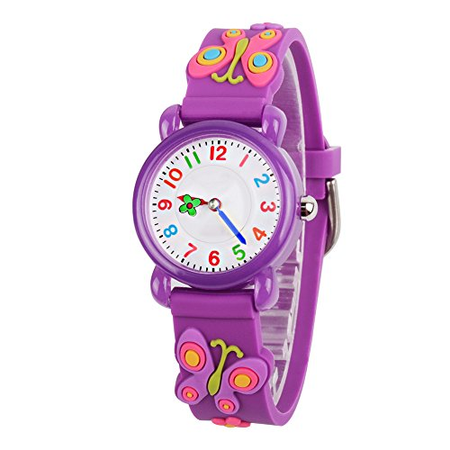 Venhoo Kids Watches 3D Waterproof Silicone Children Toddler Wrist Watch Time Teacher Birthday Gifts for 3-10 Year Old Kids Girls-Purple Butterfly