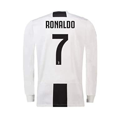 info for 916bc eb513 Ronaldo Juventus #7 Home Soccer Jersey Long Sleeve Mens 2018-2019 Season  Black/White