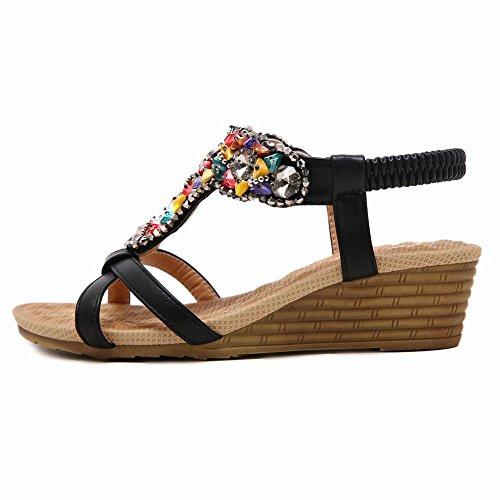 Carolbar Vrouwen Kralen Strass Steentjes Bohemien Bungee T-strap Sleehakken Sandalen Zwart