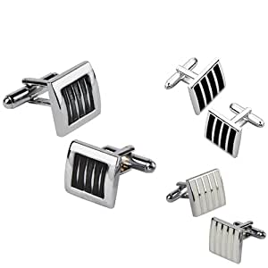 Everydaysource 3-Pack Cufflinks, Black / Silver Square, Black / Silver Version 2, White Rectangle