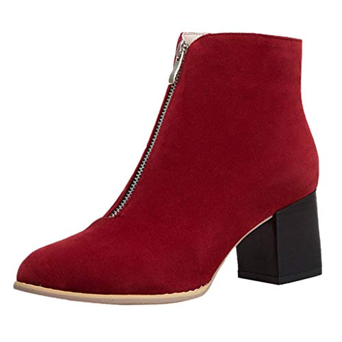 (JJHAEVDY Women's Suede Leather Chunky Block Heel Ankle Bootie Fashion Front Zipper Pointed Toe Boots Classic Dress Shoes)