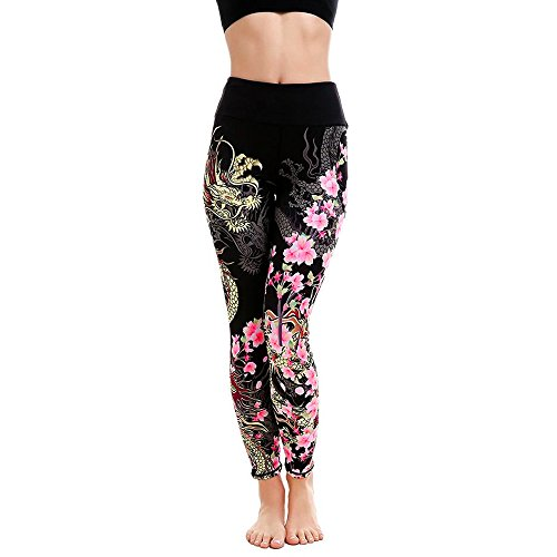 Dragon Print Yoga Pants, Women's Tummy Control Leggings Sports Gym Running Fitness Workout Pants by E-Scenery (Black, X-Large)