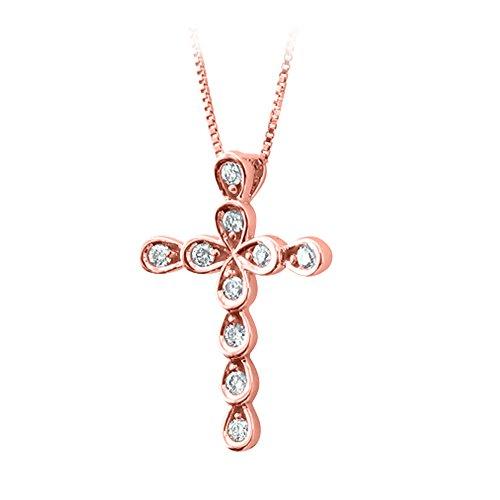 10k Rose Gold Diamond Cross Pendant Necklace (0.08 Carat) - IGI Certified