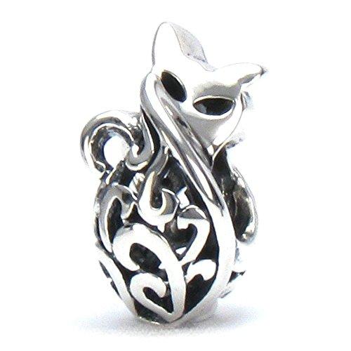 BELLA FASCINI Petite Kitty Cat Scroll Charm Bead - 925 Sterling Silver - Fits European Style Bracelets