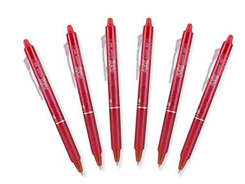 Pilot FriXion Ball 0.7mm Erasable Gel Pens, Fine Point, Red Ink, Pack Of 6