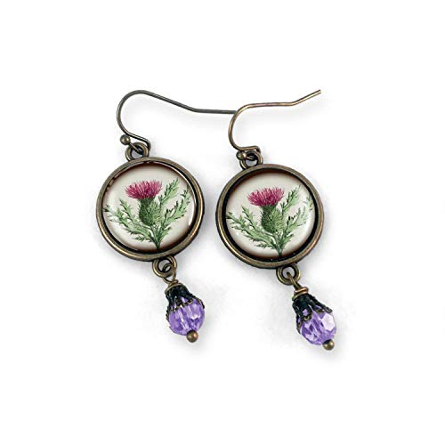 (Thistle glass cabochon Earrings)
