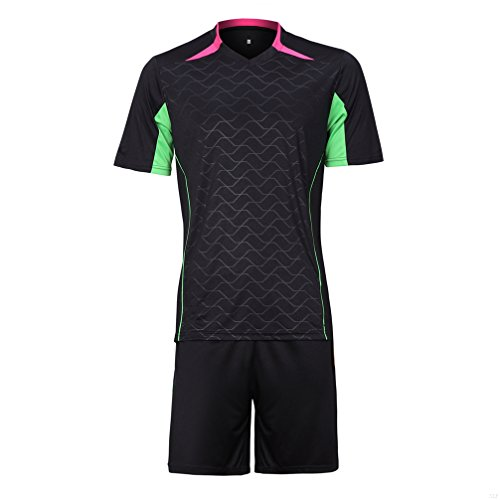 SLBGADIEME Black Soccer Jersey Shorts,Team Jersey Men Womens Football Soccer Short Sleeve Jersey Set Cycling Hiking Lightweight Breathable Comfortable Adult Jersey Unisex BB11