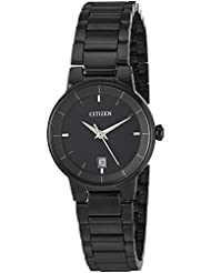 Citizen Womens  Quartz Stainless Steel Casual Watch, Color:Black (Model: EU6017-54E)