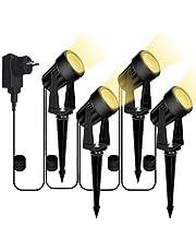 Bomcosy oświetlenie ogrodowe, 4-częściowy zestaw lamp ogrodowych, wbijane w ziemię, DC 12 V, 14 m, IP65, wodoszczelny reflektor LED z wtyczką, ciepła biel, oświetlenie ścieżki, oświetlenie zewnętrzne