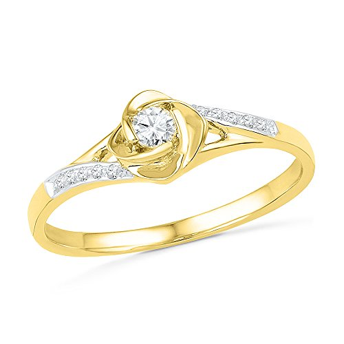 (10KT Yellow Gold Round Diamond Promise Ring (1/10 cttw))