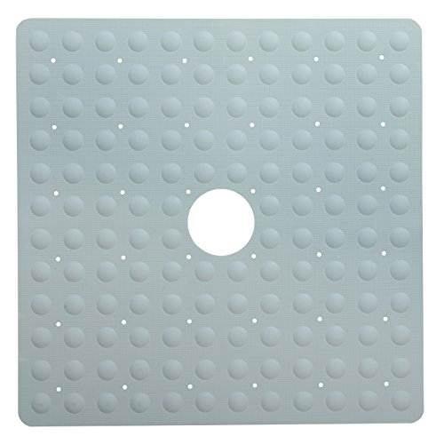 Shower Stall Mat (SlipX Solutions Gray Square Rubber Safety Shower Mat with Microban Provides Reliable Slip-Resistance in Shower Stalls (Mildew Resistant, 140 Suction Cups, Great Drainage))
