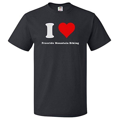 ShirtScope I Love Freeride mountain biking T shirt I Heart Freeride mountain biking Tee (Freeride Mountain Biking)