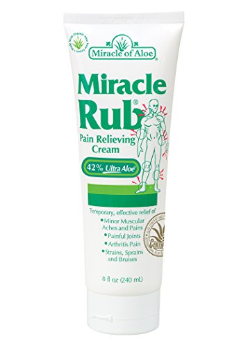 Miracle of Aloe, Miracle Rub Pain Relieving Cream with 42% UltraAloe - 8 ounce tube (Herbal Vapor Rub)