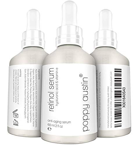 Retinol Serum by Poppy Austin - DOUBLE SIZED 2 oz - Cruelty-Free, 2.5% Retinol, Vitamin E, Hyaluronic Acid & Organic Jojoba Oil - Best Anti Ageing Serum for Face, Neck & Under Eye Wrinkles 2018