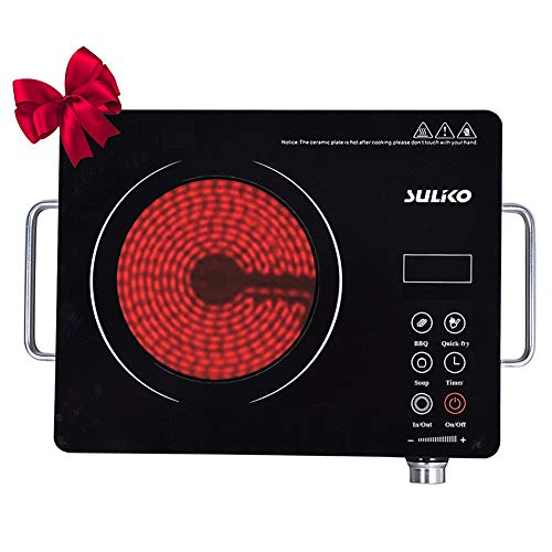 Suliko Electric Cooktop, 1800W Portable Countertop Burner, Sensor Touch Electric Induction Cooktop Countertop Burner Suitable for Iron, Stainless Steel, Glass, Ceramic Cookware