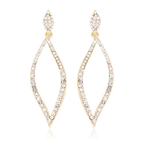 - RIAH FASHION Sparkly Rhinestone Chandelier Statement Drop Earrings - Bridal Wedding Crystal Cubic Zirconia Geometric Dangles Rectangle, Teardrop, Pointed Oval Marquise, Rhombus (Crystal Leaf - Gold)