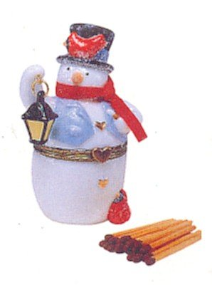 Snowman Hinged Box - Snowman with Match Porcelain Hinged Box PHB Midwest of Cannon Falls