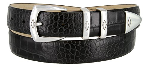The Canyon Men's Italian Leather Designer Dress Belt (40, Alligator Black)
