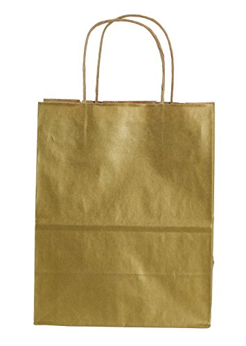 Z-230141 15 Count Metallic Kraft Shopping Bag, 8.25 by 10.5-Inch, Gold (Gold Paper Gift Bags)