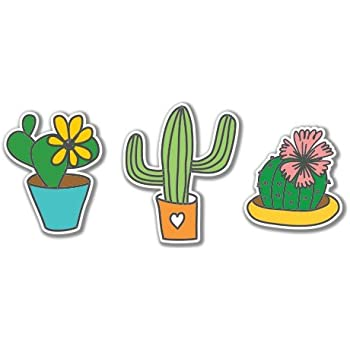Cacti set cute vinyl sticker car phone helmet select size