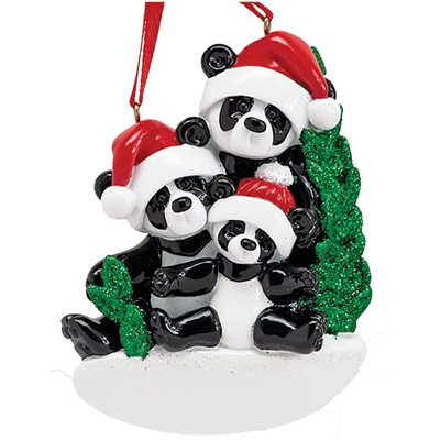 (Personalized Bamboo Panda Bear Family of 3 Christmas Ornament for Tree 2018 - Parents Children Friends in Santa Hat Holding Hands - Glitter Green Winter Holiday Tradition - Free Customization (Three))