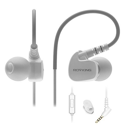 ROVKING Wired Sweatproof Earhook In Ear Sport Workout Headphones Noise Isolating Over Ear Earbuds with Microphone for Running Jogging Gym Exercise Earphones for iPhone iPod Samsung Cell Phone White