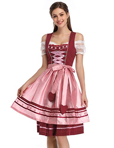 Clearlove Women German Dirndl Dress Costumes for Bavarian Oktoberfest Halloween Carnival (2XL, Red Heart)