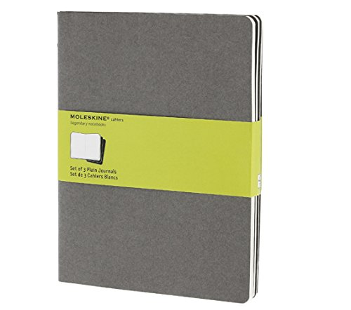 Moleskine Cahier Journal (Set of 3), Extra Large, Plain, Pebble Grey, Soft Cover (7.5 x 10) - Three Pebbles