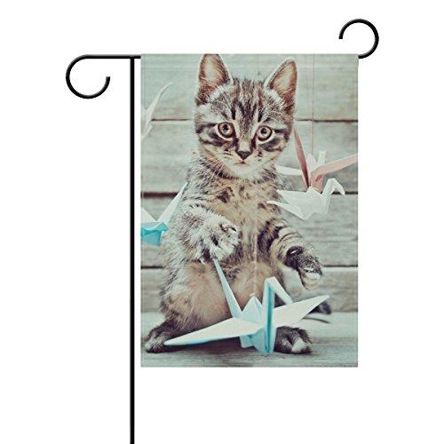 Holisaky Kitten And Paper Crane Outdoor Decor Garden Flag 28