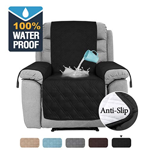 H.VERSAILTEX 100% Waterproof Furniture Protectors for Recliner Chair Covers for Leather, Non-Slip Recliner Slipcover Recliner Covers for Living Room, Slipcovers for Recliner (Recliner Medium: Black) (Slipcovers For Living Room Chairs)