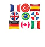 FUN WTH FLAGS ! 9 BALLOONS PARTY new WORLD day SCHOOL event decor FLAG BALLOONS UK france CANADA italy BRAZIL germany TURKEY spain DOMINICAN REPUBLIC INTERNATIONAL united NATIONS